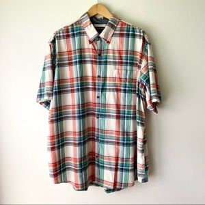 LANDS END Mens Plaid Button Down Short Sleeve XL